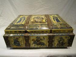 Hatalmas látványos régi német festett kekszes pléh doboz