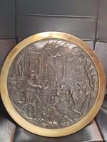 Antik jelenetes bronz tányér.-Fali dísztányér.