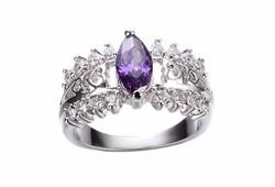 Lila köves ezüst gyűrű 7-es ÚJ!