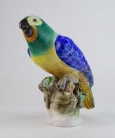 0M010 Antik óherendi porcelán papagáj 15.5 cm