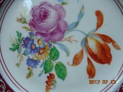 KARLSBAD CARL KNOLL monogrammal,kézzel festett virág mintás ezüst mintás tányér-18,5 cm