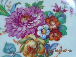 KARLSBAD CARL KNOLL monogrammal,kézzel festett látványos virág mintás,ezüst mintás tányér-18,5 cm