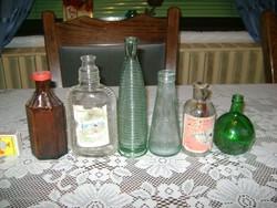 Régi üveg palack - hat darab - gyűjtőknek