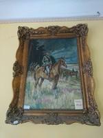 Lovas katonát ábrázoló olaj-vászon festmény eladó