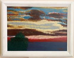 Tengeri naplemente, provanszi stílusú keretben,36 x 46 cm,olaj-karton