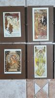 Alfons Mucha: 8 db kis méretű képek pattintós üvegkeretben