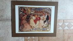Alfons Mucha: 1 db nagy méretű kép pattintós üvegkeretben