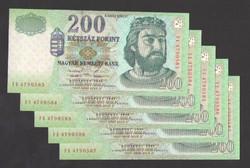 """200 forint 1998. """"FE"""" ! 5 db sorszám követő! UNC !"""