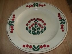 Hatalmas méretű csipkebogyós festett fali tányér