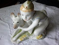 Antik Lomonosov figura Fiú Kutyával