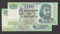 """200 forint 2002 """"FB"""". 2 db sorszámkövető (125, 126)!! UNC!! RITKA!!"""