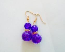Nagyon szép,lila üveg gyöngy fülbevaló