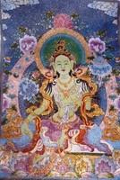Green Tara - Buddhista fali szőttes, fali dísz, kép, jelkép