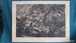 Gigantikus 82 x 58 cm-es Ridinger metszet 1736
