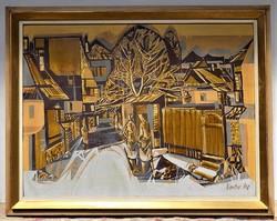 Xantus Gyula (1919-1993) Tokaji ősz olajfestménye 95x75cm Eredeti garanciával !!