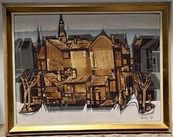Xantus Gyula (1919-1993) Soproni látkép olajfestménye 95x75cm Eredeti garanciával !!