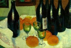 Európai festő : Csendélet borosüvegekkel
