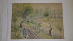 Wanek S. Ferenc Tóparti séta festmény