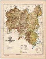Tolna vármegye térkép 1894, antik, eredeti, Magarország, megye, XIX. század, Gönczy Pál