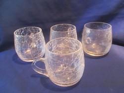 4 db repesztett üveg pohár A 069