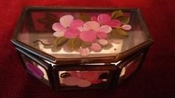 Kézzel festett virágos ólomüveg tükrös ékszerdoboz - ANTIK - RITKA !
