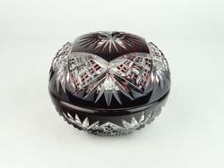 0N492 Régi bordó csiszolt üveg bonbonier