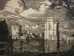 Raymond Enard (1902 - 1982) - Kikötő, házak...