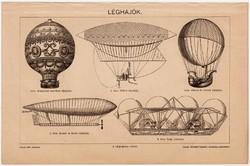 Léghajók, egy színű nyomat 1898, repülés, Petin, léghajó, eredeti, régi