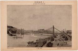 Hídak I., Az Eskü - téri Duna - híd, egy színű nyomat 1896, híd, Duna, eredeti, régi