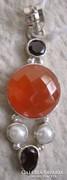 925 ezüst medál gránát, narancs onix és tenyésztett gyöngy