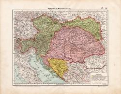 Ausztria és Magyarország térkép 1906, magyar atlasz, eredeti, Osztrák - Magyar Monarchia, politikai