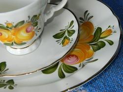 Royal porcelán kézzel festett reggeliző szett, kávés szett