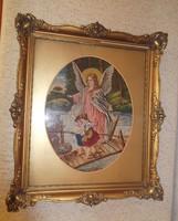 Antik tűgobelin szentkép eladó!  / Őrangyal gyermekekkel