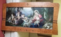 Antik szentkép eladó, topolyakeretes/ Szűz Mária Jézussal és puttókkal