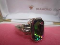 Különleges gránát kővel díszített női gyűrű 18,7 mm belső
