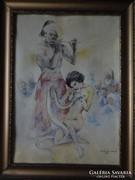 A kígyó és a lány - Zórád Ernő festmény eredetije