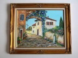 Veronai utcarészlet 40x50 cm valódi festmény