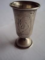 Antik Ezüst pohárka kézzel vésett motívumokkal diszitett