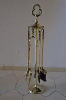 Szép Angol Viktória korabeli réz Kandalló Tüzi szerszám készlet- Kandalló kellékek