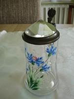 Búzavirágos festett üvegkupa különleges csiszolású fedéllel