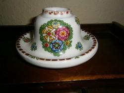 Kézzel festett antik  porcelán  gyertyatartó