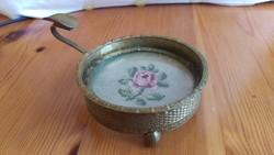 Antik pipa tartó tű gobelin hímzéssel üveg berakással