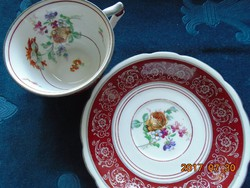 KARLSBAD CARL KNOLL monogrammal,kézzel festett látványos virágokkal teás csésze alátéttel