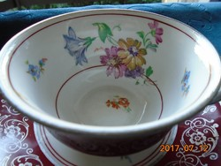 CARL KNOLL monogrammal, kézzel festett látványos virágokkal ,teás csésze alátéttel