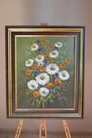 Mezei Virágcsendélet Szignózott Olajfestmény vásznon keretben