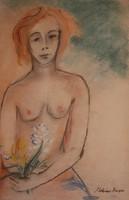 Molnár Róza: Akt virággal