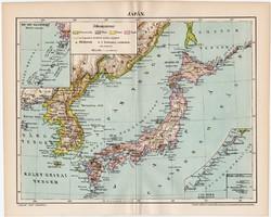 Japán térkép 1896, antik, eredeti, Ázsia, Jesszo, Hokkaido, sziget, régi
