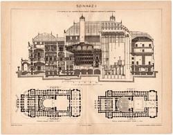 Színház I., Budapesti Magyar Királyi Operaház, Pallas nyomat 1898, eredeti, antik