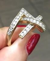 14 karátos amorf köves női arany gyűrű