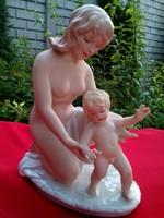 Wallendorf anya gyermekével porcelán